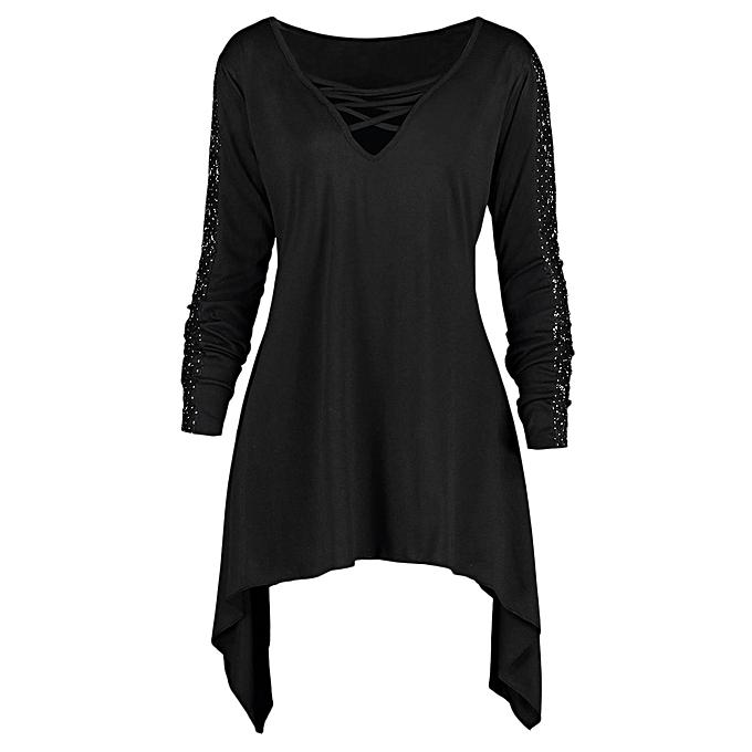 92207c26b3a24 Buy Fashion Plus Size Long Sleeve Criss Cross Sharkbite T-shirt ...