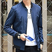New StuffMen's Casual Solid Color Slim Pilot Jacket Men's Coat Fashion Shelves Baseball Jacket Men's Large Size Jacket-blue
