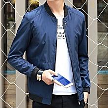 New StuffMen's Casual Solid Color Slim Pilot Jacket Men's Coat Fashion Shelves Baseball Jacket Men's Large Size Jacket-blue
