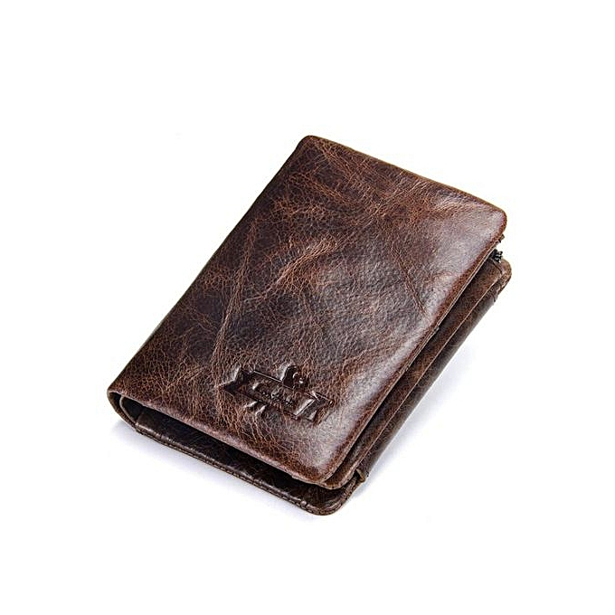 diversified latest designs online store pretty and colorful Leather wallet men's leather coin purse casual short oil wax leather wallet  men's tri-fold bag-cafe