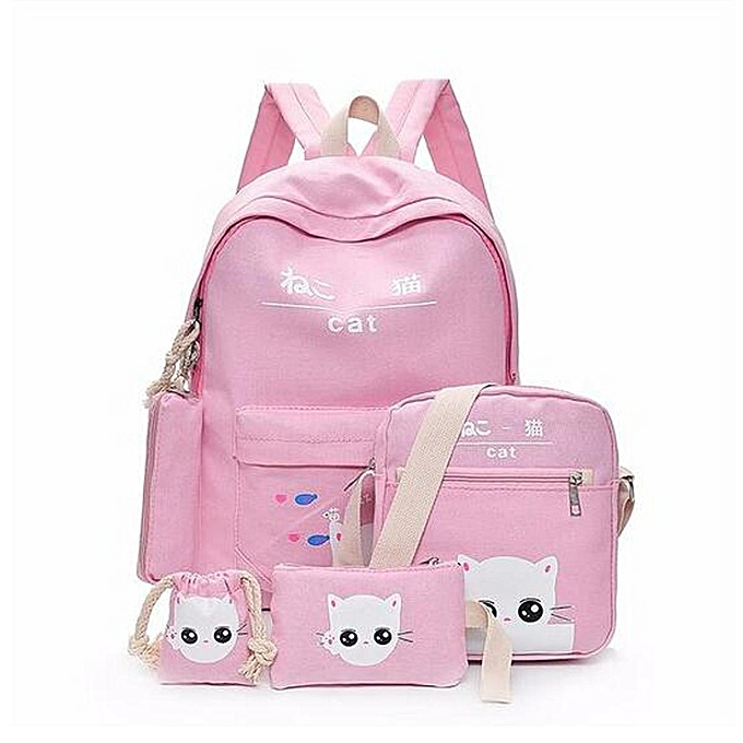 Fashion 5Pcs Women Backpack Girl School Bookbag Shoulder Bag Rucksack  Travel Bag 4 Set Kids Canvas b74e3dded2046