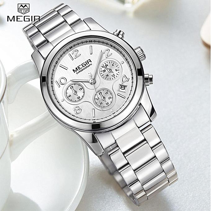 4a759100806 MEGIR Luxury Rose Gold Date Chronograph Fashion Sport Watch Women Top Brand  Female Steel Dress Business