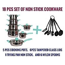 18pcs cookware set (12pcs stainless steel Cooking pots + 6pcs non stick spoons)