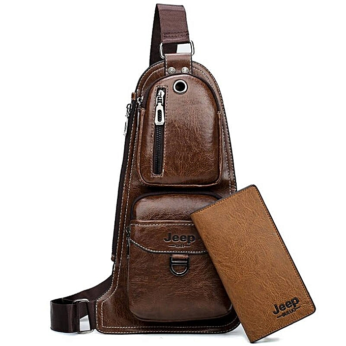 6503c071beb JEEP BULUO Brand Men Cross body Bags New Hot Crossbody Shoulder Bag Famous  Brand Man's Leather Sling Chest Bags Fashion Casual(6196-8068 Khaki)