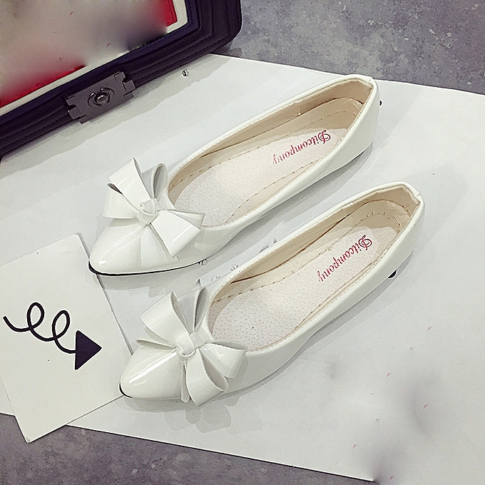1905591477e8 Neworldline Fashion Bow Pointed Toe Women Flats Woman Flat Shoes Ballet  Flats Ladies WH 35-White -CN SIZE