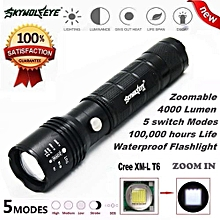 Camping & Hiking Flashlight 4000Lumen 5 Modes Zoomable CREE XM-L T6 LED 18650 Battery Flashlight Focus Lamp