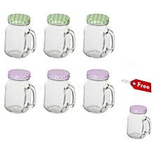 6Pc Set Glass Mason Jars with Handle, 450ml (Mixed Colours) + FREE 450ml mason Jar