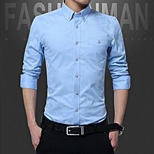 Cotton Slim Fit Office Formal Shirts Men Long Sleeve Business Shirts (Sky Blue)