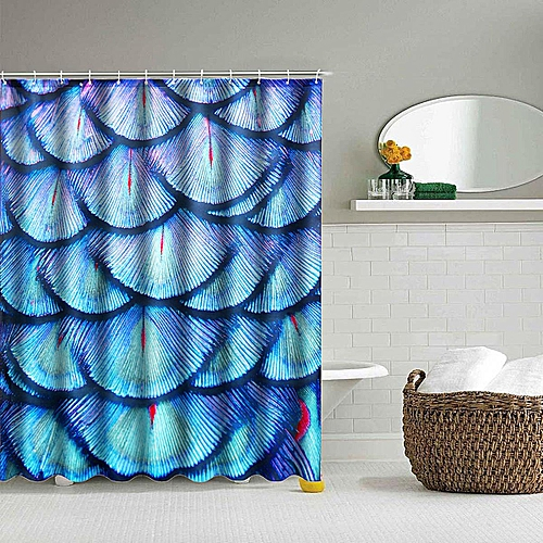 Generic 71 Waterproof Feather Bathroom Printed Shower Curtain Polyester With 12 Hooks Best Price