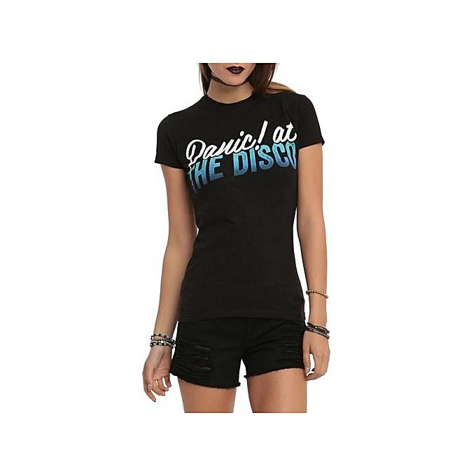 ad45de02 Fashion Custom Cotton T-shirt Panic! At The Disco Ombre Logo Girls T ...
