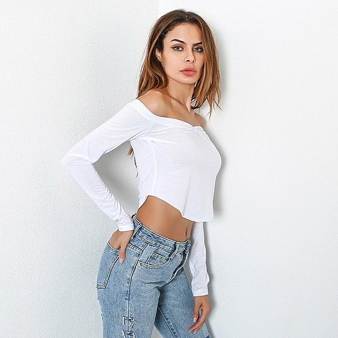 fb6dd2ecfb5bd2 ... New Sexy Women Off Shoulder Crop Top Long Sleeve Basic T-Shirt Casual  Solid Slim ...