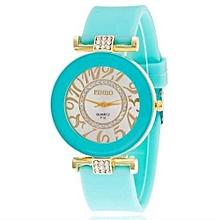 New Fashion Silicone Bling Crystal Quartz Watch Women & Girls(Sky Blue)