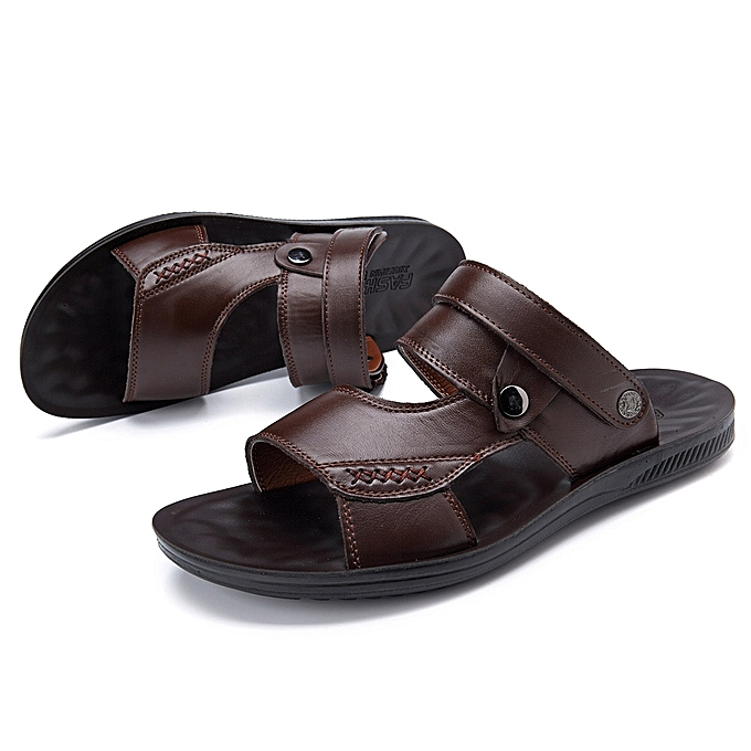 e0b602acfdb5 Fashion Men Comfy Sole Genuine Leather Sandals Two Way Wear Shoes Beach  Shoes