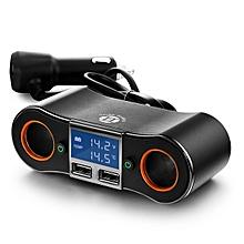 CO 12V DC Car Cigarette Lighter Adapter 2 Way Double Plug Socket Charger Splitter-black