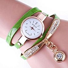 Lady  Leather Wrist Watch Zhoulianfa Women Leather Rhinestone Analog Quartz Wrist Watches GN-Green