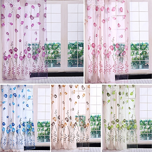 UNIVERSAL 100*200cm Tulips Printing Tulle Curtains Sheer Drape