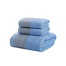 Bath cotton Towel Set - 3 Pieces - Blue
