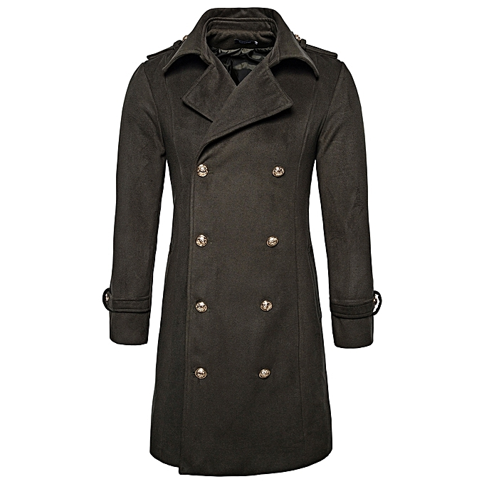 c6a74917e Turndown Collar Double Breasted Peacoat - ARMY GREEN