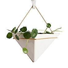 Hanging Triangle White Porcelain Flowerpot -White