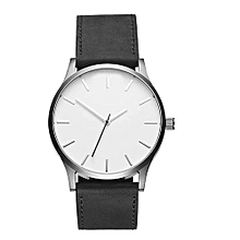 Men's Fashion Casual Leather Wrist Watch - Black White