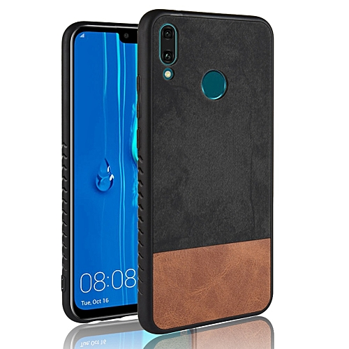 """Huawei Y9 (2019) Case,Ultra-Thin Multi-Layer Hybrid PU Leather TPU Bumper PC Hard Anti-Slip Shockproof Protective Cover for Huawei Y9 (2019)/Enjoy 9 Plus 6.5"""" -Black+Brown"""