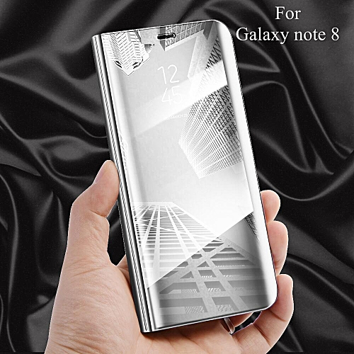 For Samsung Galaxy Note 8 Flip Cover Luxury Plating Smart View Mirror Case  Clear Transparent Casing For Samsung Note8 PU Leather Phone Housing 135512