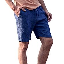 Men's Breathable Cotton Casual Shorts Pants Summer Fashion Simple Knee-Length Shorts