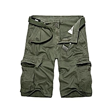 dacb9c7c9bb6 Plus Size Casual Solid Color Baggy Pants Loose Cargo Shorts-Deep Green