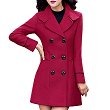 Hiamok Women Wool Double Breasted Coat Elegant Long Sleeve Work Office Fashion Jacket