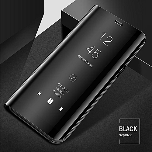 best website c959f 3abaa Luxury Smart Clear View Mirror Case For Samsung Galaxy A8 Plus 2018 Cover  Leather Flip Case For Samsung Galaxy A8+ 2018 Stand Phone Cases (black)