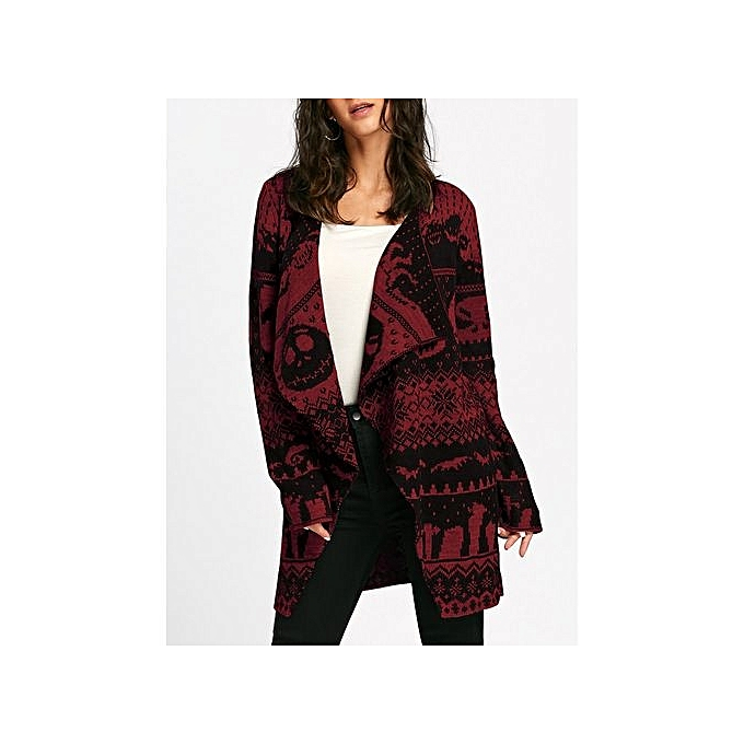 5834bec91490f DRESSFO Halloween Skull Knitting Tunic Cardigan - BURGUNDY   Best ...