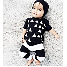 Fashion  The Explosion Of Black Children Cartoon Cotton Suit Printing Triangle Lovely Children Clothing
