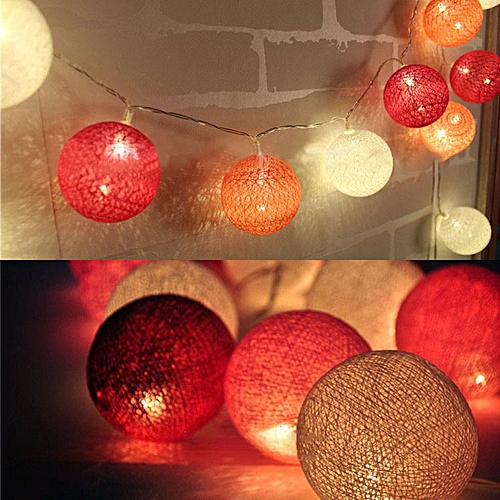 new products c14f5 a8582 KCASA 3.3M 20 LED Red Cotton Ball String Lights LED Fairy Lights for  Festival Christmas Wedding