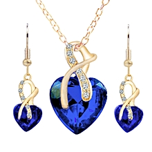 Necklace Earrings Elegant Heart-Shaped Rhinestone Wedding Gifts Jewelry Set Christmas Women