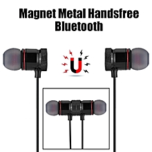 Bluetooth Earphone Sports Magnet Metal Handsfree Bluetooth 4.1 Headset For Android Apple Universal (Black)