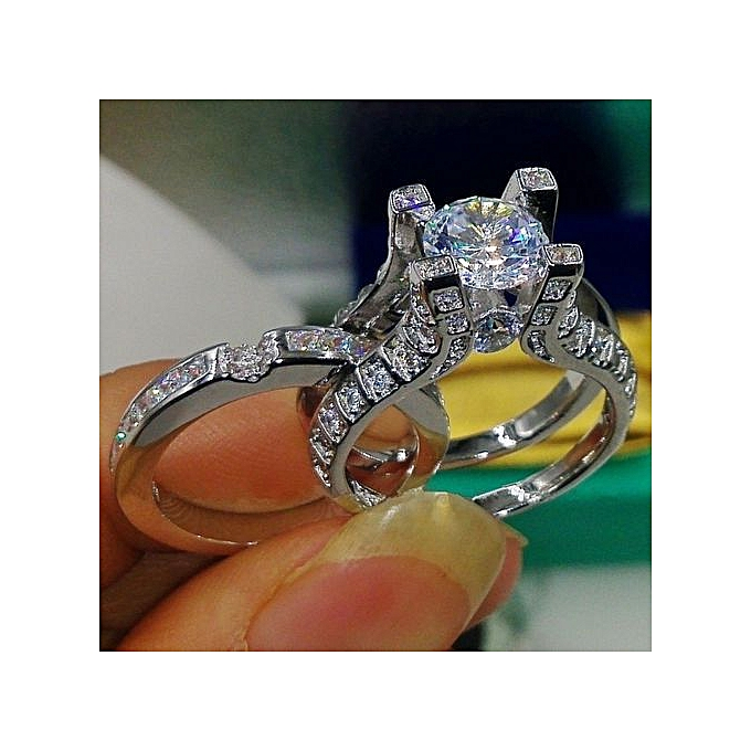79c8eef4c Gorgeous Jewelry Natural White Sapphire Diamond Ring 925 Sterling Silver  Filled Bridal Wedding Ring Set