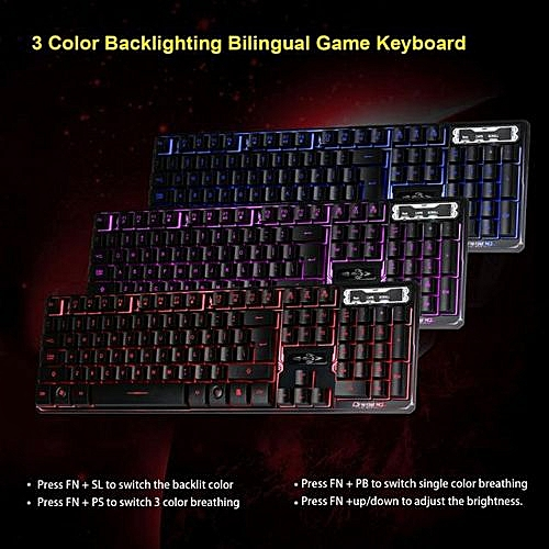 3 Colors Crack Illuminated LED Backlight USB Wired Multimedia PC Gaming  Keyboard…