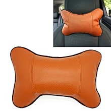 Four Seasons Breathable Leather Surface Car Neck Pillow Head Pillow(Brown)
