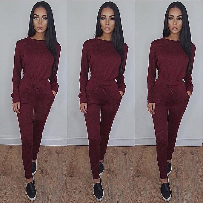 3b64705c19a1 Womens 2 Piece Skinny Jumpsuit Ladies Long Sleeve Slim Tracksuit RD M -Red