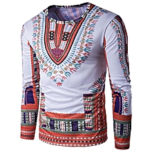 Hiamok Mens Traditional Thailand Style African Print Long Sleeve T-Shirt Blouse Tops