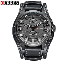 8225 Casual Decorative Sub-dial Male Quartz Watch - Black