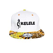 White And Orange Snapback Hat With Kelele Colors On Brim