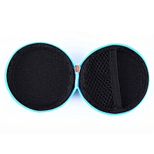 Earphone Pocket Headphone Earbud Carry Storage Bag Coin Pouch Hard Holder Case(Blue)
