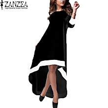ZANZEA Womens O Neck 3/4 Sleeve Stitching Asymmetrical Hem Elegant Summer Party Maxi Long Dress Beach Vestido Plus Size Black