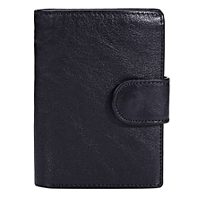 Fashion Men Trifold Short Purse Retro Leather Wallet Button Bag Card Case Coin Bag Color:black