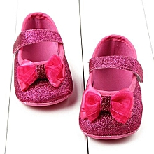 bluerdream-Toddler Girl Bowknot Shining Powder Soft Sole Crib Shoes Baby Shoes HOT/11-Hot Pink