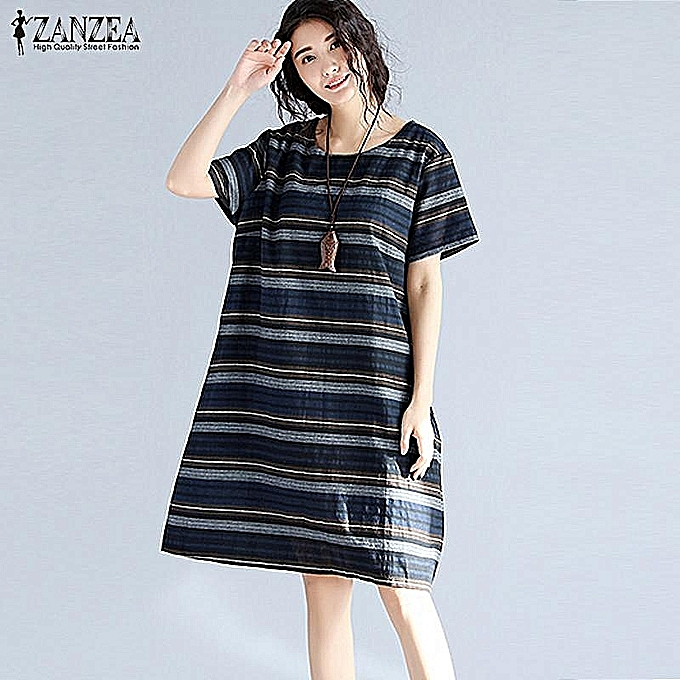 8b24916ffc Womens Summer Retro Striped Casual Loose Knee-Length Dresses Cotton Linen  Crew Neck Short Sleeve