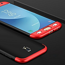GKK For Galaxy J5 (2017) (EU Version) PC Three - paragraph Shield 360 Degrees Full Coverage Protective Case Back Cover (Black + Red)
