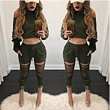 Women's Fashion Sexy Causal 2 Pieces Suit With Hoodies Crop Top And Long Pants Set Camouflage Suit