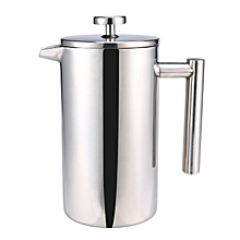 800ML Double Wall French Coffee Press,Stainless Steel Insulated Coffee Tea Maker Pot,Sliver